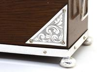 Late Victorian Oak and Silver Plate Rectangular Two Compartment Tea Caddy (7 of 8)