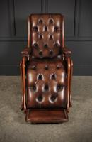 Rare Mahogany & Buttoned Brown Leather Reclining Chair (9 of 15)