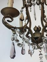 Gilt Bronze Toleware Chandelier with Crystal Droplets (8 of 8)
