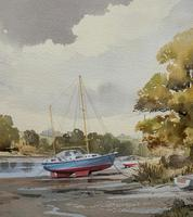 Superb Quality 20th Century Vintage Boats Estuary Seascape Watercolour Painting (6 of 11)