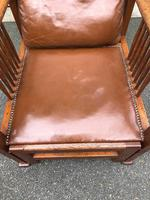 Arts & Crafts Oak & Leather Reclining Armchair (3 of 10)