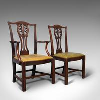 Antique, Set of 6, Dining Chairs, English, Mahogany, Leather, Seats, Victorian (9 of 12)