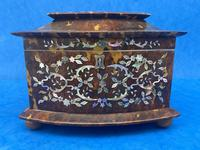 Victorian Tortoiseshell Tea Caddy with Mother of Pearl Inlay (5 of 20)