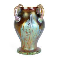 Loetz Phaenomen Iridescent Art Nouveau Glass Four Handled Vase