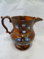Charming 19th Century Copper Lustre Floral Jug (3 of 7)