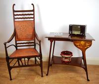 Edwardian Art Nouveau High Back Open Armchair (10 of 10)