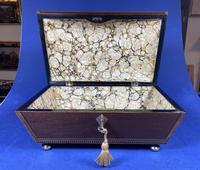 Regency Sarcophagus Mahogany Box with Shell Inlay. (3 of 12)