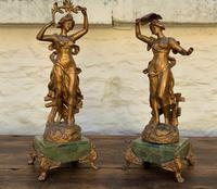Elegant Tall 19th Century French Gilt Metal & Onyx Garniture Mantel Statue Clock Set (3 of 13)