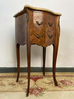 French Marquetry Bedside Tables Cabinets With Marble Tops Louis XVI Bombe Style (4 of 10)