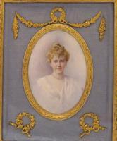 Edwardian Miniature Portrait Ormolu Frame Jeanie Boyle 1913 (5 of 5)
