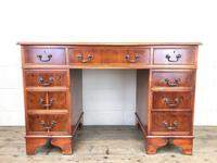 Reproduction Yew Wood Kneehole Desk (3 of 12)