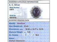 21.43ct Amethyst & 1.07ct Diamond, 14ct Yellow Gold Dress Ring - Vintage c.1960 (6 of 9)