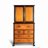 Anglo-Chinese Camphor & Ebony Campaign Secretaire Bookcase (10 of 15)