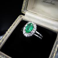 Vintage Emerald and Diamond Platinum Oval Cluster Halo Ring (3 of 9)
