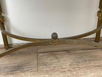 French Brass Square Leather Top Coffee Table (6 of 28)