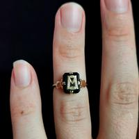 Antique Victorian Mourning Ring, Initial M, Onyx and 9ct Gold (9 of 10)