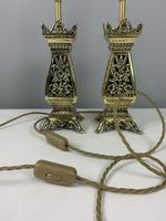 Pair Of Victorian Pierced Brass Table Lamps; Rewired And Pat Tested (8 of 10)