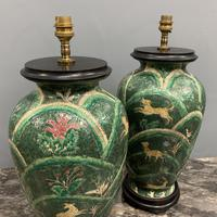 Pair of Bulbous Oriental Ceramic Lamps (4 of 7)
