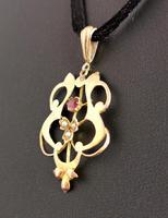Antique Art Nouveau Lavalier Pendant, Ruby & Pearl, 9ct Gold (6 of 10)