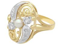 0.27ct Diamond & Pearl, 14ct Yellow Gold Dress Ring - Vintage c.1940 (3 of 9)