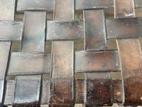 Art Deco Original English Handmade Oak & Leather Strapped Brass Studded Footstool (12 of 22)