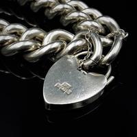 Vintage Heavy Chunky Heart Padlock Sterling Silver Curb Bracelet (7 of 10)