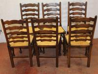 1900's Set of 6 Oak Ladder Back Dining Chairs. Rush Seats (3 of 4)