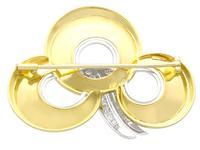 0.72ct Diamond & 18ct Yellow Gold & Platinum Brooch c.1950 (5 of 9)