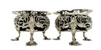 Pair of Antique Victorian Sterling Silver 'Oriental Heads' Salts 1840 (4 of 10)