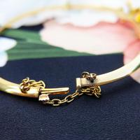 Vintage 14ct Yellow Gold Crescent Moon Pearl Bangle (7 of 8)