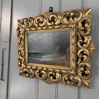 Antique oil painting seascape coastal scene of St Owens Ouens Bay Jersey (4 of 10)