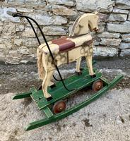 Antique Wooden Push Along Rocking Horse Toy (8 of 19)