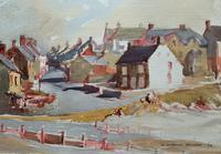 Original Vintage North Wales Coastal Village Landscape Watercolour Painting (3 of 12)