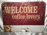 Vintage English Original Enamel Metal Welcome Coffee Lovers Double Sided Shop Sign (3 of 21)