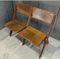 Vintage Oak Collapsible Pew Chairs c.1910 (2 of 5)