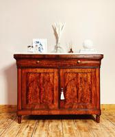 Antique French Flamed Mahogany Sideboard / Cupboard / Marble Linen Cabinet