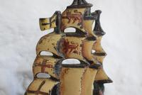 Pair of Painted Bronze Sailing Ship Doorstops or Bookends (6 of 10)