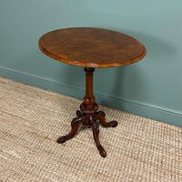 Beautifully Figured Victorian Walnut Antique Occasional Table (4 of 9)