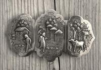 Antique Burmese Silver Belt Buckle, High Relief Repousse, Figures and a Cow c.1880 (2 of 8)
