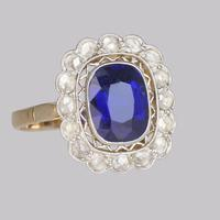 Sapphire & Diamond Cluster Ring 1930s 18ct Gold Rose Cut Diamond Ring (8 of 9)
