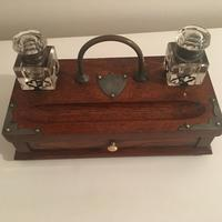 Oak Ink stand with pen holder, drawer and two inkwells