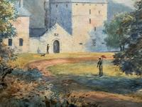 Fine 19th Century Regency Gilt Show-Framed Castle Landscape Watercolour Painting (8 of 14)