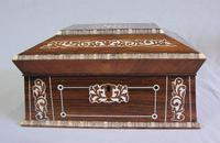 Antique Victorian Rosewood Inlaid Sarcophagus Shaped Sewing Box
