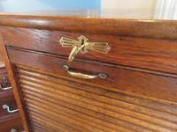 Edwardian Oak Tambour Front Filing Cabinet (6 of 8)