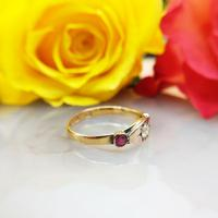 Antique Victorian 22ct 9ct Gold Old Mine Cut Diamond & Ruby Trilogy Ring | Three Stone Ring (8 of 10)