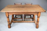 Country Antique Style Oak Refectory Kitchen  Dining Table (12 of 12)