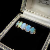 Vintage Opal Five Stone 9ct 9K Yellow Gold Band Ring (3 of 10)
