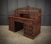 Carved Oak Pedestal Desk (9 of 19)