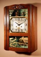 Italian Interest Automaton Large Oak Signed Odo Striking Wall Clock (7 of 11)