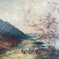 Antique Scottish Landscape Oil Painting with Sheep on Track by Loch Signed B Clark 1918 (5 of 10)